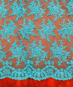 Turquoise Mesh w/ Embroidery Sequins Hand Beaded Lace Fabric 130cm Wide By the Yard