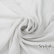 150cm WHITE Solid Colour Sheer Chiffon Fabric by the Bolt - 25 Yards