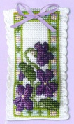 Textile Heritage Lavender Sachet Counted Cross Stitch Kit - Violets
