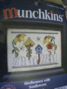 Munchkins Birdhouses with Sunflowers Counted Cross Stitch Kit #357
