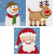Anchor Anchor 1st Mixed Christmas Needlecraft Pack For Kids - Santa, Rudolph, Frosty