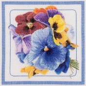 Pansies On Linen Counted Cross Stitch Kit-33cm - 1.3cm x 34cm 36 Count