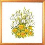 Eva Rosenstand Snowdrop Flower Bouquet Counted Cross Stitch Kit #12-831