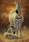 A New Day - Zebra Mum with Cub Counted Cross Stitch Kit