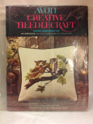 Vintage 1973 Avon Creative Needlecraft Owl Mates Pillow Crewel Embroidery Kit 36cm X 36cm
