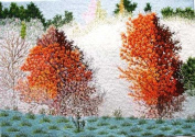 Vietnamese Embroidery - 36cm x 48cm Red Maples - EBB51