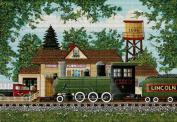 Art Needlepoint Oak Landing Railroad Depot Needlepoint Canvas by Anthony Kleem