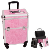 Craft Accents Pink Crocodile Textured Aluminium Art Supply Storage Case / Box with removable tray and dividers