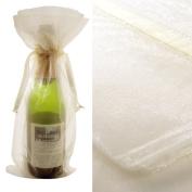 10x Ivory Bottle & Wine Organza Favour Gift Bags 17cm x 38cm