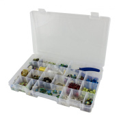 Barefoot Bella Plastic Craft Storage Box with Lid and Handle, Organiser Compartments for Bead, Loom Bands for Kids, and Jewellery Making Storage