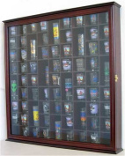 71 Shot Glass Display Case Rack Holder Cabinet, with glass door, CHERRY FINISH