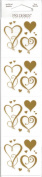 Gold Swirly Hearts Scrapbook Stickers