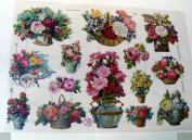 German scrap die cut flowers 7264
