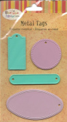 Lilac and Turquoise Embossed Metal Tag Stickers
