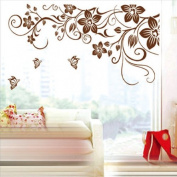 Tree Flower Butterfly Vine Rattan Cane Removable Wall Sticker Decals Wallpaper LW5769