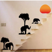Tree Elephant Removable Wall Vinyl Sticker Decals Wallpaper LW57_8158