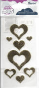 Gold Fabric Puffy Heart Scrapbook Stickers