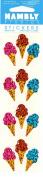 Ice Cream Cones Sparkle Scrapbook Stickers
