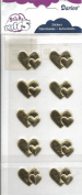 Gold Double Hearts Fabric Puffy Scrapbook Stickers