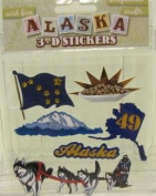 Alaska Scrapbooking Craft Stickers 3-d Husky Dog Sled Team Flag