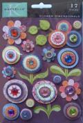 K & Company Marcella by K Gem and Glitter Flower Dimensionals Sticker Embellishments 151406 Marmelade
