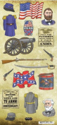 Civil War Blue & Grey Cardstock Scrapbook Stickers