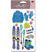 EK Success Sticko Foil Stickers - Skiing