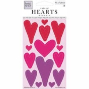 Red Pink and Purple Heart Epoxy Scrapbook Stickers