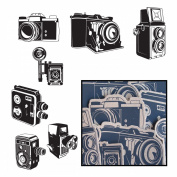 Kraft Die-Cuts 14/Pkg-Say Cheese Cameras 7 Styles/Black