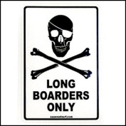 Sticker - Long Boarders Only with Skull