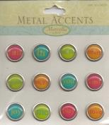 Super Bright Tiny Words Metal Accents Scrapbook Stickers