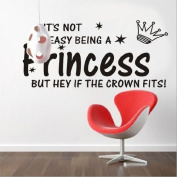 Toprate(TM) Princess- It's not easy being a princess...but hey...if the Crown fits! 10.5x22.5 vinyl lettering wall decal art sticker