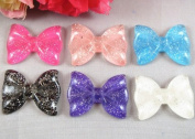 24pc Resin 2.5cm Hair Bow Flatback Button Craft-6colors