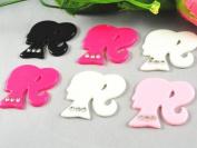 20pcs Stones of Resin Barbie Girl Flatback Button 4 Colours