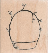 Woodland Basket Wood Mounted Rubber Stamp