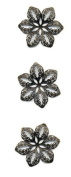 Momenta Metal Flowers, Three LG Antique Lace with White Gems