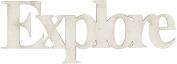 Fabscraps Die-Cut Grey Chipboard Word, Explore, 10cm by 3.8cm