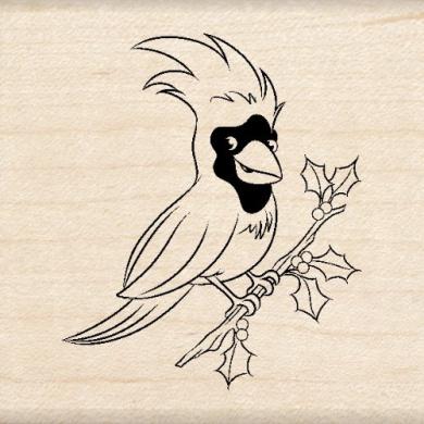 Inkadinkado Cute Cardinal Wood Stamp