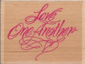 Love One Another Flourish Wood Mounted Rubber Stamp