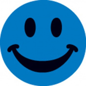 Ace Label 16289C Teacher Smiley Face School Stickers, 2.5cm , Blue, 100 Per Roll