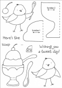Honeypop Clear Stamp Set 10cm x 13cm -Sundae Birdy