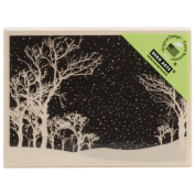 Hero Arts Snowy Night Christmas Wood Mounted Rubber Stamp H5831