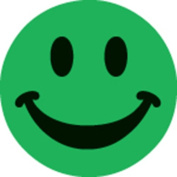 Ace Label 16389C Teacher Smiley Face School Stickers, 2.5cm , Green, 100 Per Roll