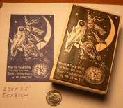 Halloween Witch with Owl on Moon Rubber Stamp P5