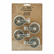 Metal Pulley Wheels by Tim Holtz Idea-ology, 4 per Pack, 5.4cm Tall, Silver Oxide Finish, TH93008