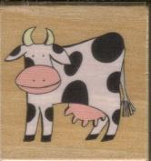 """""""Bessie"""" Cow Rubber Stamp on Wooden Block"""