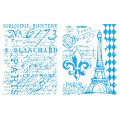 Sizzix Texture Fades A2 Embossing Folders 2/Pkg-Eiffel Tower/French Script By Tim Holtz