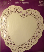 16 Large White Heart Shaped Die Cut Paper Doilies