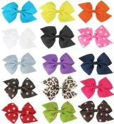 24pc (12 Pairs) 8.9cm Pinwheel DIY Bows for Sewing, Hair Clips, Scrapbooking. Colours May Vary