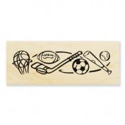 Stampendous Wood Handle Rubber Stamp, Sports Border Image